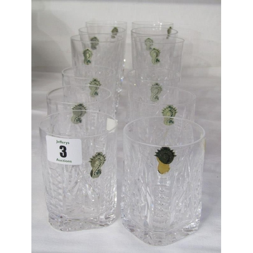 3 - WATERFORD GLASS, set of 6 square base cut glass whisky tumblers, together with similar set of 6 tall...
