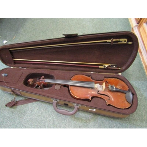 306 - ANTIQUE VIOLIN, and 2 bows in contemporary case, 13.75