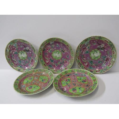38 - ORIENTAL CERAMICS, Famille verte, set of 3 floral decorated 6