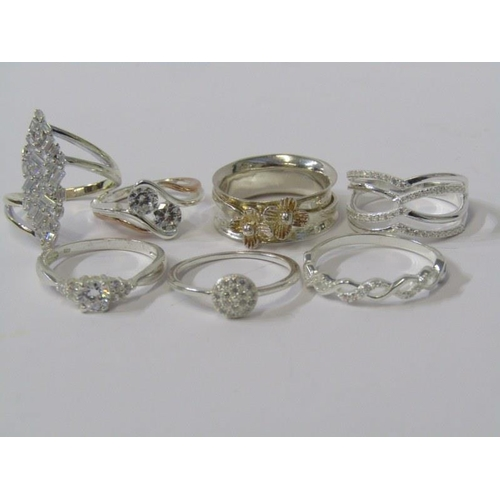 403 - SILVER RINGS, collection of 7 silver rings, some stone set...