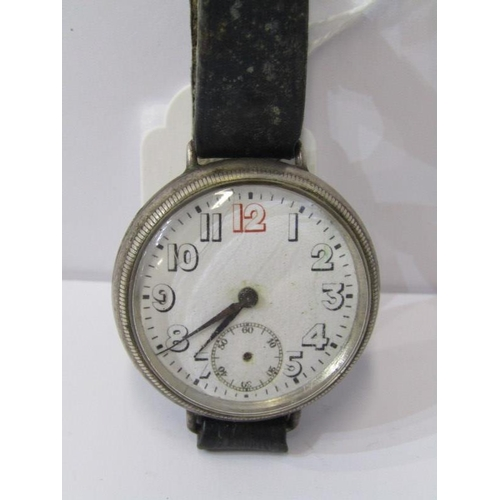 404 - SILVER CASED TRENCH WATCH, a/f condition...