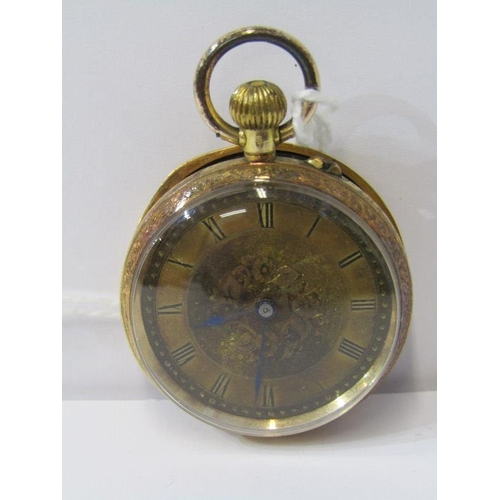 406 - 18ct YELLOW GOLD CASED LADIES FOB WATCH,  top wind with pin set, movement appears in working conditi...