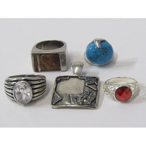 408 - SILVER RINGS, collection of 4 heavy silver rings and 1 pendant, including stone set...