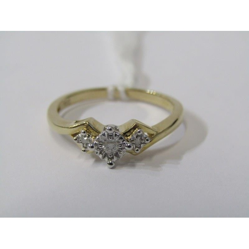 411 - 9ct YELLOW GOLD 3 STONE DIAMOND RING, size O/P...
