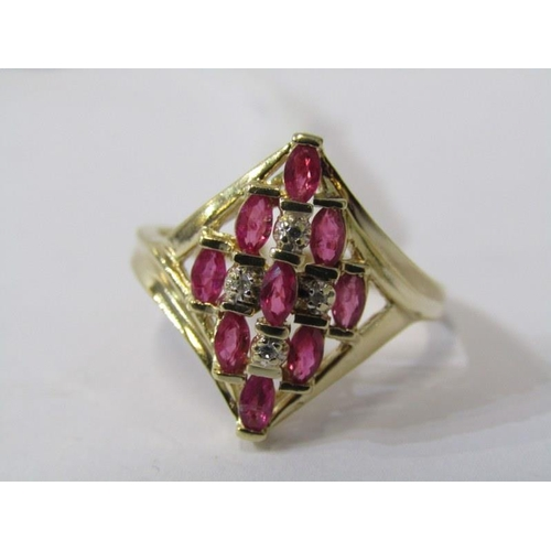 414 - 14ct RUBY & DIAMOND RING, 9 well matched oval cut rubies, seperated by accent brilliant cut diamonds...