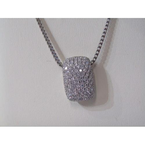 416 - 18ct WHITE GOLD DIAMOND PARVA SET enchancer pendant on 18ct white gold Franco style chain...