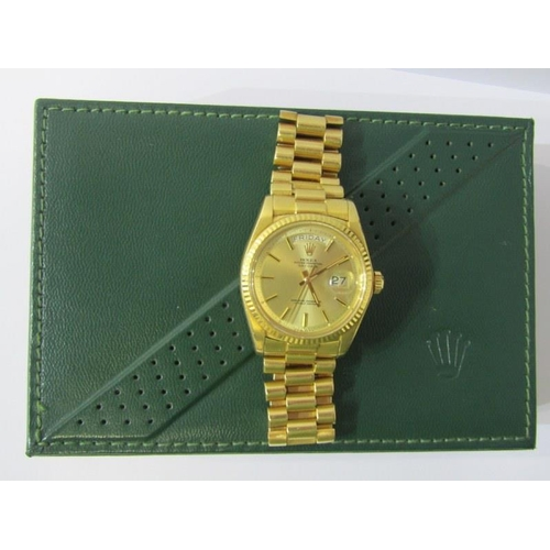 417 - 18ct YELLOW GOLD ROLEX OYSTER PERPETUAL DAY DATE on 18ct gold president bracelet with inner/outer bo...