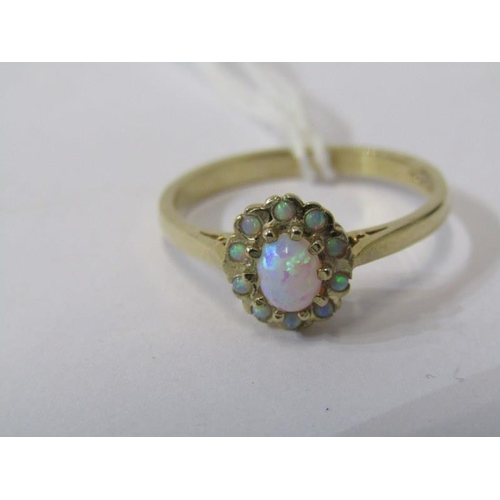 420 - 9ct YELLOW GOLD OPAL CLUSTER RING, size Q...