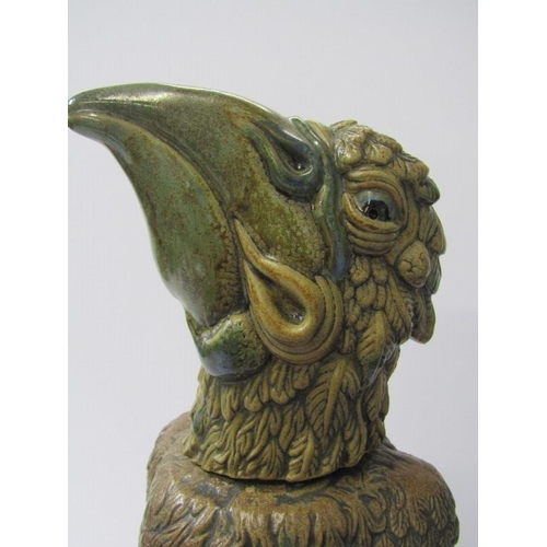 48 - COBRIDGE STONEWARE, Grotesque Bird figure with detachable head in the style of Martin Brothers, 14