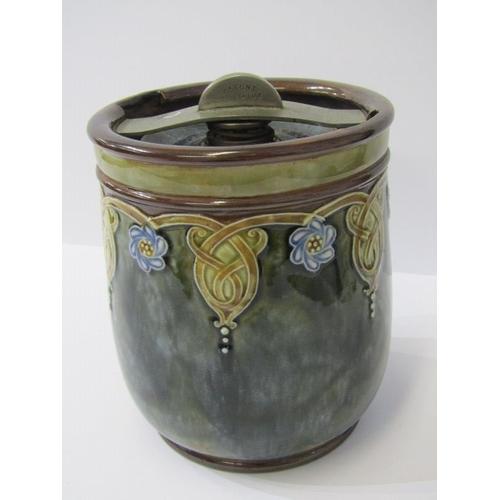 53 - ART NOUVEAU, Royal Doulton stoneware tobacco jar, pattern no 8345 with patent clamp, 6