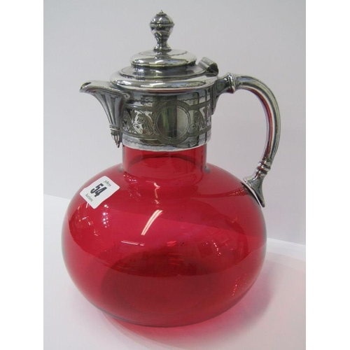 54 - CRANBERRY GLASS, 19th Century claret jug with engraved plated mounts, 8