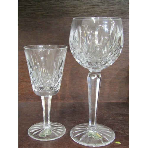 6 - WATERFORD GLASS, set of 6 cut bowl hock glasses and matching 6 goblets each etched with