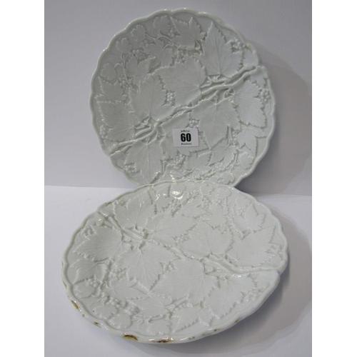 60 - MEISSEN, pair of 19th Century vine leaf embossed dessert plates, 8.5