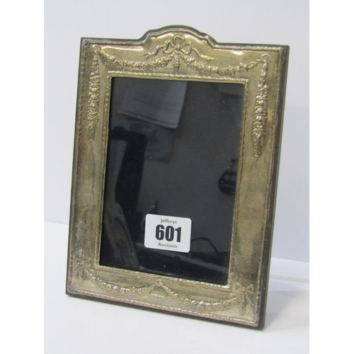 601 - SILVER EASEL PHOTO FRAME, with swag and ribbon decoration, 7