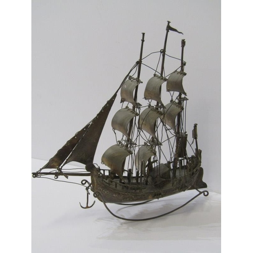 604 - SILVER JUNK, silver model of a 3 masted Junk, 8