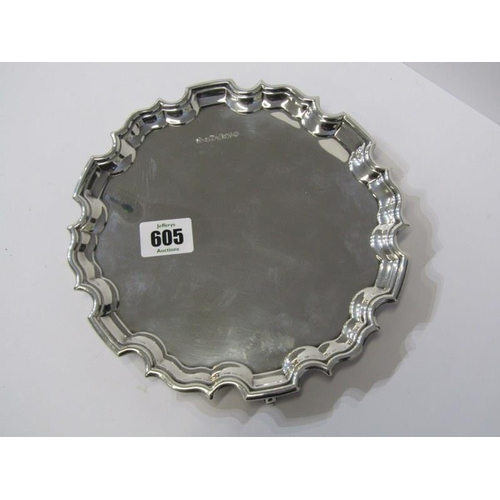 605 - SILVER CARD TRAY with shaped border on 3 scroll supports, Sheffield HM, 8