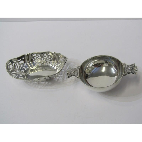 606 - SILVER QUAICH, with thistle handles, 2.5