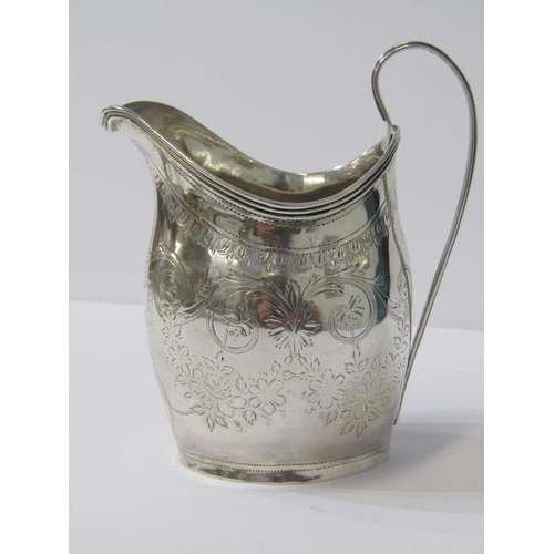 610 - GEORGIAN SILVER CREAM JUG HELMET SHAPED, with engraved floral decoration, London 1799, 4