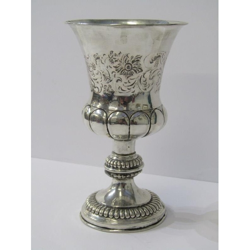 612 - VICTORIAN SILVER GOBLET, with fluted baluster bowl and stemmed beaded support, engraved Ludwig Alber...