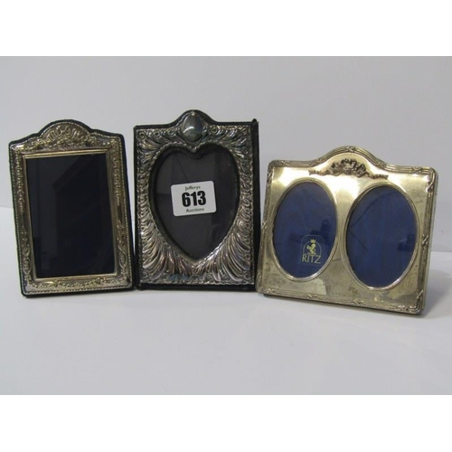613 - MINIATURE SILVER PHOTO FRAMES, 3 silver easel photo frames, 2 fancy frames, 5