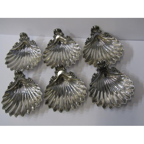 616 - PLATED SHELL FORM BUTTER DISHES, set of 6 shell form dishes, stamped
