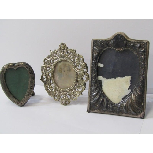 618 - MINIATURE SILVER PHOTO FRAMES, 1 HM with pierced decorated outer of cherubs and dolphins, 4
