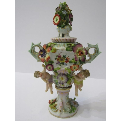 62 - THURINGIAN, floral encrusted and figure support lidded small pot pourri, vase, 7