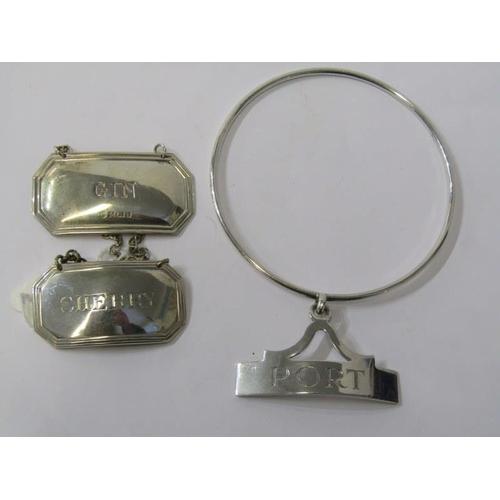 620 - DECANTER LABELS, 3 modern silver decanter labels.