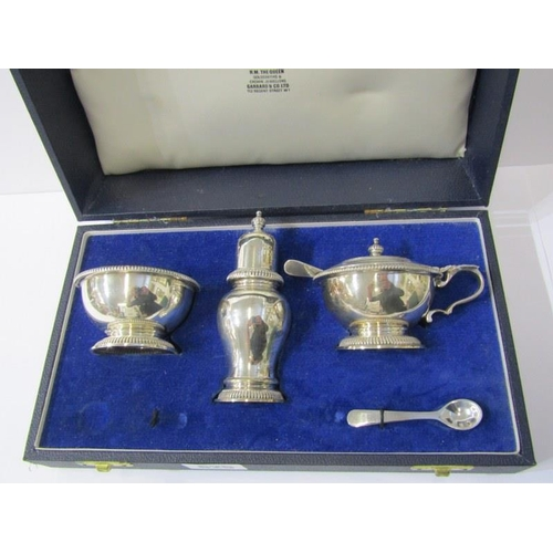 625 - SILVER CRUET SET, boxed silver cruet by Garrard & Co in fitted retailers box with blue glass liners,...