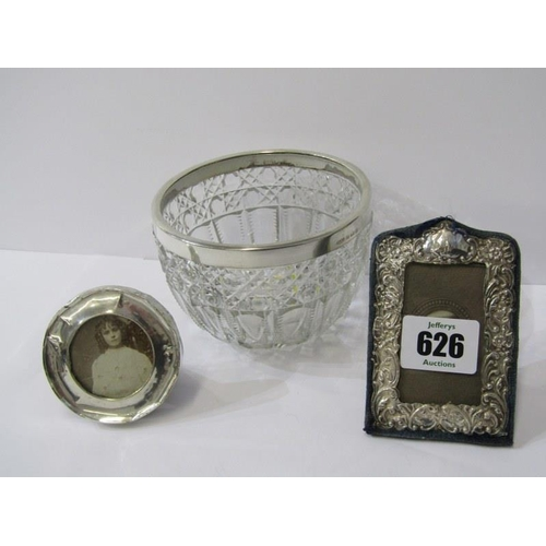 626 - SILVER PHOTO FRAMES, 2 miniature easel photo frames, largest approx. 3.5