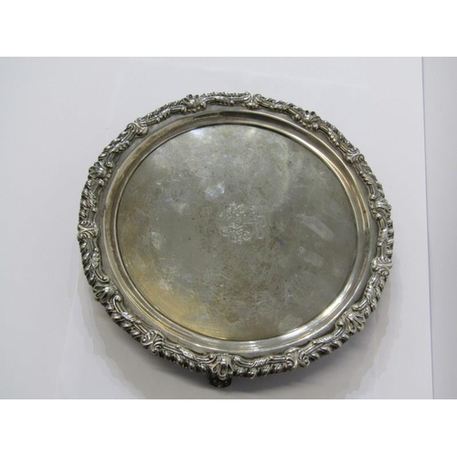 627 - GEORGIAN SCOTTISH SILVER SALVER, with cental engraved decoration, with gadrooned style borders, on 3...