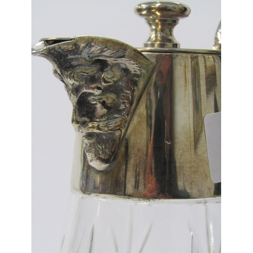 629 - CLARET JUG,  a quality cut glass claret jug with plated mounts and mask spout, 10