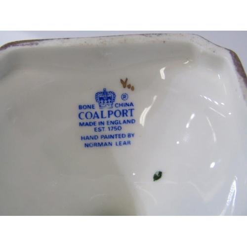 63 - COALPORT, fruit decorated gilt pedestal twin rams head handled lidded vase, signed N Lear, 8.5
