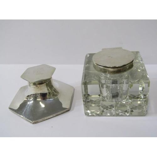 630 - INK WELLS, silver ink well of hexagonal form, 3.5