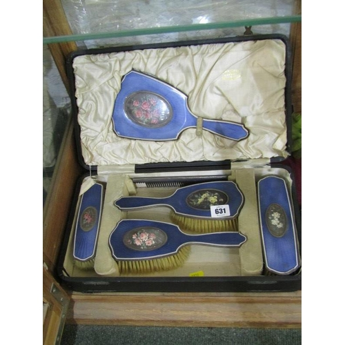 631 - ENAMELLED DRESSING TABLE MIRROR & BRUSH SET, the backs with floral panels in fitted case, retailed b...