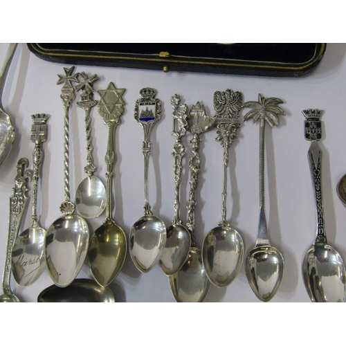 632 - SILVER CHRISTENING SET, silver spoon and fork in fitted case, Sheffield HM, together with a collecti...