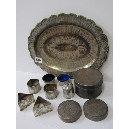 635 - EASTERN SILVER & WHITE METAL, Eastern silver oval tray engraved