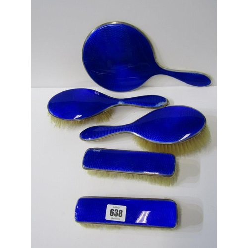 638 - SILVER & ENAMEL 5 PIECE DRESSING TABLE MIRROR & BRUSH SET, with various faults...
