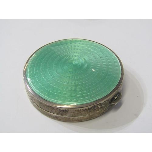 640 - SILVER & ENAMEL DRESSING TABLE SET, 6 piece silver and green enamel dressing table set including mir...
