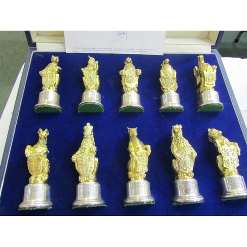 641 - QUEENS BEASTS, collection of 10 silver gilt Queens Beasts figures with engraved silver plinth bases,...