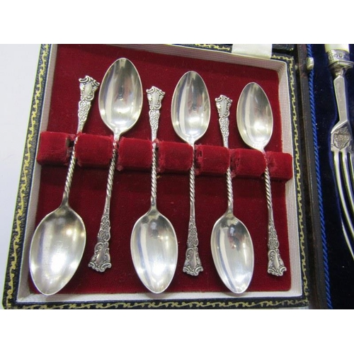 644 - EDWARDIAN CASED SERVING SET, silver bladed knife and fork, in fitted case, Sheffield HM 1909, togeth...