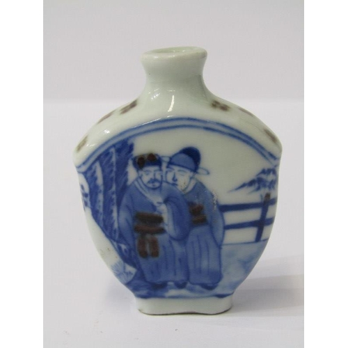 69 - ORIENTAL CERAMICS, Chinese porcelain snuff bottle, decorated in underglaze blue with figures and Art...