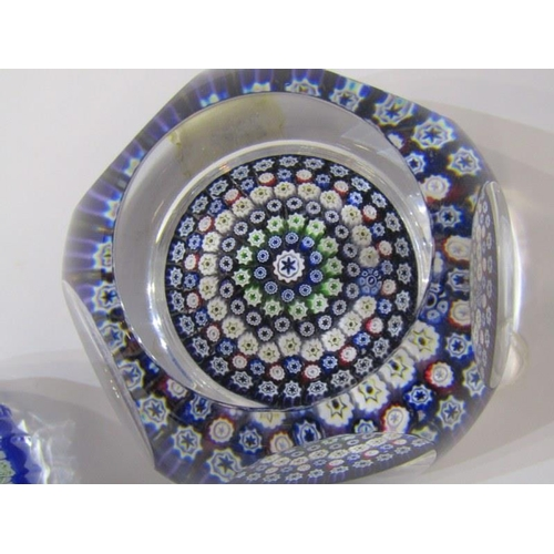 74 - WHITEFRIARS, Millefiore glass paperweight with cut window display, together with similar Perthshire ...