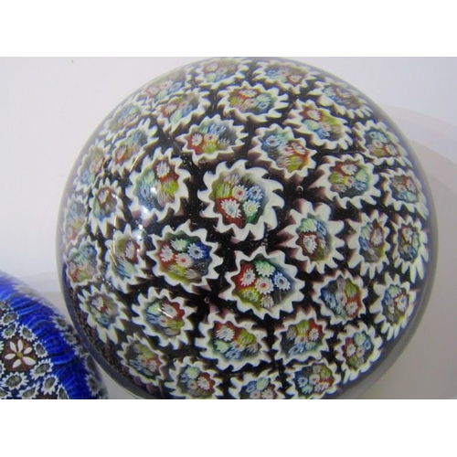 77 - PAPERWEIGHTS, 2 domed glass millefiore cane paperweights, 3.5