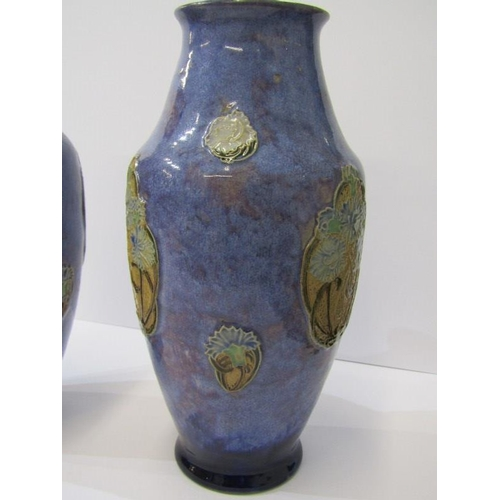 78 - DOULTON STONEWARE, pair of blue ground waisted neck vases, 10