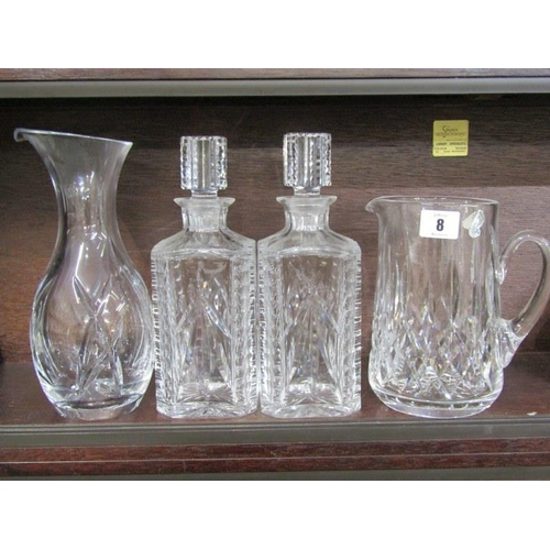 8 - WATERFORD GLASS, pair of square base whisky decanters, also Waterford cut glass jug, 7
