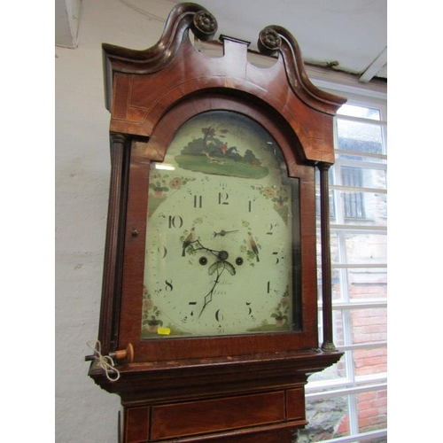 808 - EARLY 19TH CENTURY LONGCASE CLOCK, 8 day painted breakarch face detailed with hunting scene by Ashto...