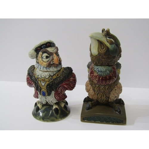 83 - ANDREW HULL, Burslem Pottery, 2 novelty Bird figure lidded jars, 5