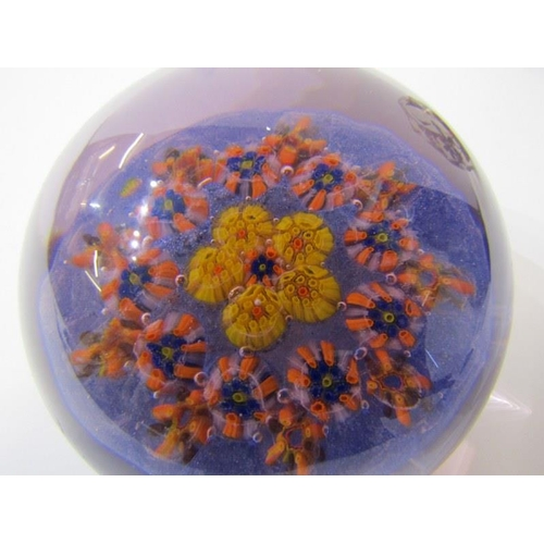 84 - PAPERWEIGHTS, glass honeycomb cut domed floral paperweight, 3.25