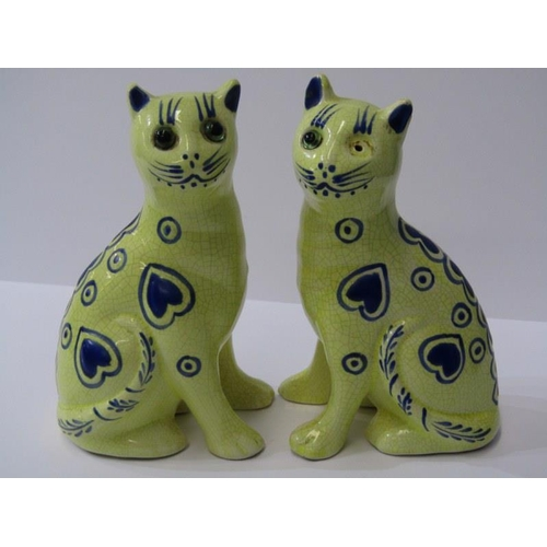 85 - POTTERY CATS, pair of Galle-style yellow ground cats  with blue heart decoration beaded eyes, 6